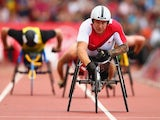 David Weir competing in the parasport 1500m T54 heat on July 29, 2014