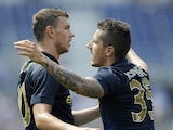 Edin Dzeko #10 and Stevan Jovetic #35 of Manchester City celebrate a goal by Jovetic during the first half of the International Champions Cup match against the Olympiacos on August 2, 2014