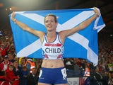 Eilidh Child of Scotland celebrates winning silver in the Women's 400 metres hurdles final at Hampden Park during day eight of the Glasgow 2014 Commonwealth Games on July 31, 2014