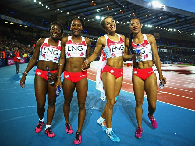 Asha Philip, Bianca Williams, Jodie Williams, Ashleigh Nelson of England celebrate winning bronze in the Women's 4 x 100m Relay Final at Hampden Park during day ten of the Glasgow 2014 Commonwealth Games on August 2, 2014