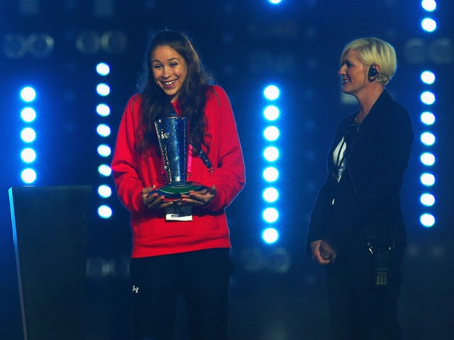 Rhythmic gymnast Francesca Jones of Wales receives the David Dixon Award during the Closing Ceremony for the Glasgow 2014 Commonwealth Games at Hampden Park on August 3, 2014