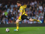 Aston Villa goalkeeper Jed Steer in action during the Capital One Cup second round match between Aston Villa and Rotherham at Villa Park on August 28, 2013