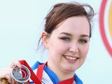 Jen McIntosh of Scotland with her silver medal after the 50m Rifle 3 positions final at Barry Buddon Shooting Centre on July 29, 2014
