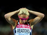 Jennifer Meadows of Great Britain reacts following the women's 800 metres semi final during day seven of 13th IAAF World Athletics Championships at Daegu Stadium on September 2, 2011