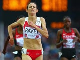 Jo Pavey of England competes in the Women's 5000 metres final at Hampden Park during day ten of the Glasgow 2014 Commonwealth Games on August 2, 2014