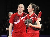 England's Paul Drinkhall and Joanna Drinkhall celebrate after winning the table tennis mixed doubles gold medal match against England's Tin Tin Ho and Liam Pitchford in the Scotstoun Sports Complex at the 2014 Commonwealth Games in Glasgow, Scotland, on A