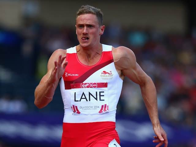 John Lane competes in the 100m during the men's decathlon on July 28, 2014