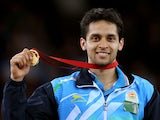 Gold medalist Kashyap Parupalli of India poses in the medal ceremony for the Men's Singles Gold Medal Match at Emirates Arena during day eleven of the Glasgow 2014 Commonwealth Games on August 3, 2014