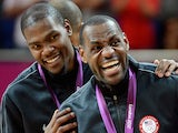 Gold medallists Kevin Durant #5 of the United States, and LeBron James #6 of the United States celebrate on the podium on August 12, 2012