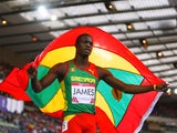 Kirani James of Grenada celebrates winning gold in the Men's 400 metres Final at Hampden Park during day seven of the Glasgow 2014 Commonwealth Games on July 30, 2014