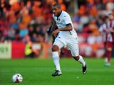 Leon Clarke of Wolverhampton Wanderers in action during the Pre-Season Friendly match between Cheltenham Town and Wolverhampton Wanderers at The Abbey Business Stadium on July 11, 2014