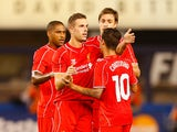 Jordan Henderson #14 of Liverpool celebrates scoring a goal in the 59th minute against Manchester City during the International Champions Cup 2014 at Yankee Stadium on July 30, 2014