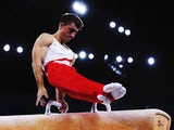 Max Whitlock of England competes on the pommel horse during day one of the men's artistic gymnastics team final at Glasgow's SSE Hydro on July 28, 2014