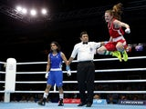 Northern Ireland's Michaela Walsh reacts to winning the bout against India's Pinki Rani during the Womens Fly semi-final boxing match at the 2014 Commonwealth Games in Glasgow, Scotland, on August 1, 2014