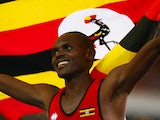 Moses Kipsiro of Uganda celebrates winning gold in the Men's 10,000 metres final at Hampden Park during day nine of the Glasgow 2014 Commonwealth Games on August 1, 2014