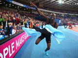 Nijel Amos of Botswana celebrates winning gold in the Men's 800 metres final at Hampden Park during day eight of the Glasgow 2014 Commonwealth Games on July 31, 2014