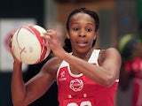 Pamela Cookey of England attacks during the ZEO International Netball Tri Series match between England and Jamaica at Wembley Arena on January 18, 2014