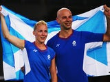 Robert Blair and Imogen Bankier of Scotland celebrate after winning the Mixed Doubles Bronze Medal match against Peng Soon Chan and Lai Pei Jing of Malaysia at Emirates Arena during day ten of the Glasgow 2014 Commonwealth Games on August 2, 2014