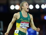 Sally Pearson of Australia celebrates winning gold in the Women's 100 metres hurdles final at Hampden Park during day nine of the Glasgow 2014 Commonwealth Games on August 1, 2014