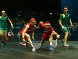 Peter Barker and Alison Waters of England compete in the Mixed Doubles Gold Medal Match against David Palmer and Rachael Grinham of Australia at Scotstoun Sports Campus during day eleven of the Glasgow 2014 Commonwealth Games on August 3, 2014
