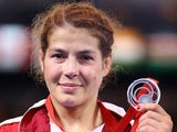 Yana Rattigan of England with her Silver medal after the 48kg Freestyle Wrestling Gold medal match on July 29, 2014