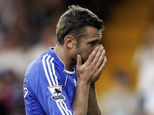 Andriy Shevchenko, then of Chelsea, reacts to missing a chance against Fulham on September 23, 2006.