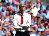 Arsene Wenger watches on as Arsenal take on Man City during the Community Shield on August 10, 2014