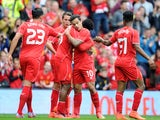 Daniel Sturridge celebrates scoring Liverpool's first against Borussia Dortmund on August 10, 2014