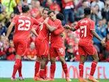 Daniel Sturridge celebrates scoring Liverpool's first against Borussia Dortmund on August 10, 2014