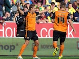 David Edwards celebrates scoring Wolves's winning goal over Norwich on August 10, 2014