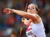 Goldie Sayers of England competes in the Women's Javelin final at Hampden Park during day seven of the Glasgow 2014 Commonwealth Games on July 30, 2014