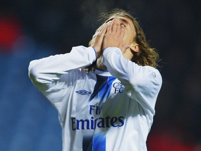 Hernan Crespo, then of Chelsea, reacts to missing a goalscoring chance against Aston Villa on December 17, 2003.