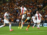 Sone Aluka of Hull City scores the second goal during the UEFA Europa League third qualifying round: second leg match between Hull City and AS Trencin on August 7, 2014