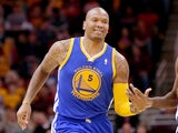 Marreese Speights #5 of the Golden State Warriors reacts after a basket in the third quarter against the Cleveland Cavaliers at Quicken Loans Arena on December 29, 2013