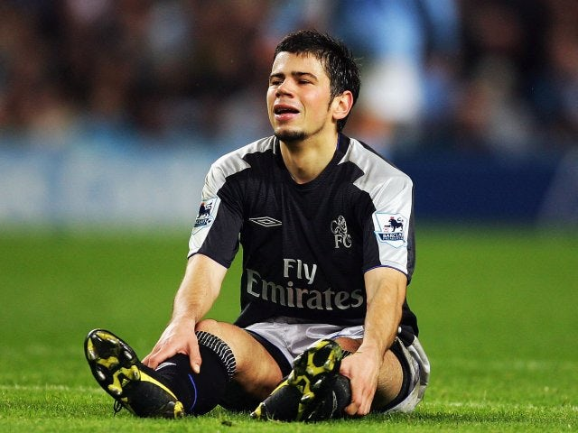 Mateja Kezman looks on dejected after missing a chance for Chelsea against Manchester City on October 16, 2004.