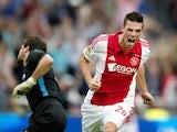 Nick Viergever celebrates scoring for Ajax on August 10, 2014
