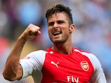 Olivier Giroud celebrates Arsenal's win over Man City in the Community Shield on August 10, 2014