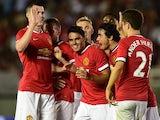 Manchester United midfielder Reece James celebrates scoring against LA Galaxy on July 23, 2014.