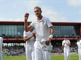 Stuart Broad of England salutes the crowd after taking six wickets during day one of 4th Investec Test match between England and India at Old Trafford on August 7, 2014