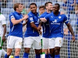 Wes Morgan celebrates scoring the opener for Leicester in their friendly with Werder Bremen on August 9, 2014