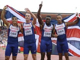Adam Gemili, Richard Kilty, Harry Aikines-Aryeetey and James Ellington celebrate after winning the Men's 4x100m final during the European Athletics Championships at the Letzigrund stadium in Zurich on August 17, 2014
