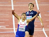 Adam Gemili of Great Britain and Northern Ireland celebrates winning gold ahead of silver medalist Christophe Lemaitre of France in the Men's 200 metres final during day four of the 22nd European Athletics Championships at Stadium Letzigrund on August 15,