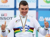 Anton Vorobyev of Russia reacts to winning the U23 Men's Individual Time Trial on day two of the UCI Road World Championships on September 17, 2012