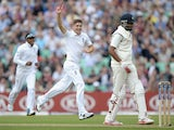 Chris Woakes of England celebrates dismissing R Ashwin of India during day one of 5th Investec Test match between England and India at The Kia Oval on August 15, 2014
