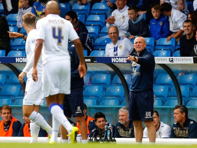 Leeds boss David Hockaday gestures to players during their match with Middlesbrough on August 16, 2014
