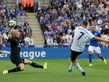 Everton's Irish midfielder Aiden McGeady scores the opening goal past Leicester's Danish goalkeeper Kasper Schmeichel during the English Premier League football match between Leicester City and Everton at King Power Stadium in Leicester, central England o