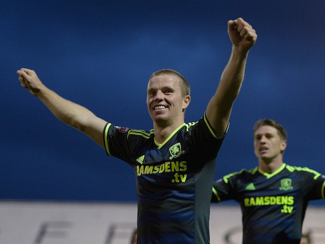 Grant Leadbitter of Middlesbrough celebrates scoring his team's second goal during the Capital One Cup First Round match against Oldham Athletic on August 12, 2014