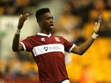 Ivan Toney of Northampton Town celebrates after scoring his sides 2nd goal during the Capital One Cup First Round match against Wolves on August 12, 2014
