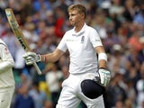 Englands Joe Root acknowledges the crowd after he finished the innings 149 not out on the third day of the fifth cricket Test match between England and India at The Oval cricket ground in London on August 17, 2014