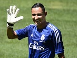 Costa Rican goalkeeper Keylor Navas formerly at Levante poses before a press conference for his official presentation at the Santiago Bernabeu on August 5, 2014